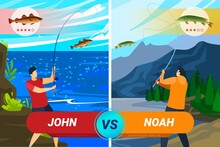 Fisherman In Nature, Competition Men In Fishing, Active Sport, Pond With Fish, Design In Cartoon Style, Vector Illustration.
