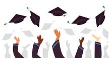 Throwing Graduation Caps. Cap Flying Up, Student Education Celebration. University College Or School, Graduate With Academic Hats Decent Vector Concept