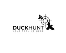 Two Flying  With Aim Target Shoot For Duck Hunt Logo