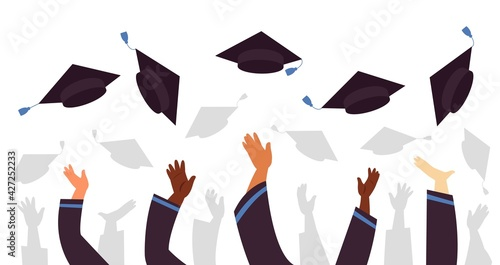 Fototapeta Throwing graduation caps. Cap flying up, student education celebration. University college or school, graduate with academic hats decent vector concept obraz