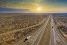 Panorama View Of Highway In America Located West In Desert Environment Near San Jon New Mexico USA
