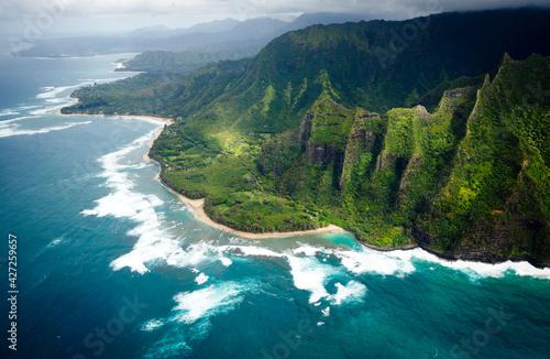 Fotografie, Obraz Aerial view of Na Pali Coast in Kauai, Hawaii