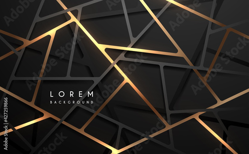 Obraz Abstract black and gold geometric lines background - fototapety do salonu