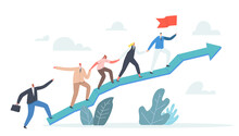 Business Characters Team Climbing At Huge Growing Graph. Leader Stand On Top With Hoisted Flag, Teamwork And Leadership