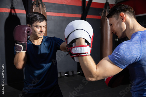 Cuadros en Lienzo Two Boxer Sparring in a Boxing Gym