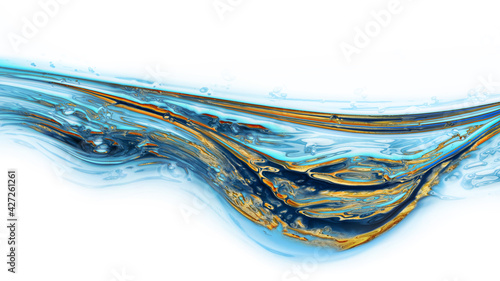 Photo Water blue ocean fluid marble background with gold exture