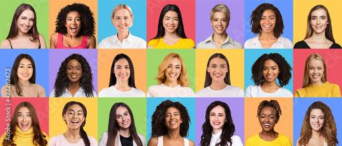 Obraz Composite set of optimistic diverse multiracial women - fototapety do salonu