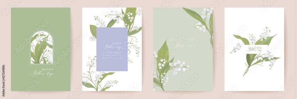 Obraz Mother day watercolor card set. Greeting mom minimal postcard design. Vector white lily flowers template fototapeta, plakat
