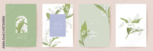 Mother day watercolor card set. Greeting mom minimal postcard design. Vector white lily flowers template