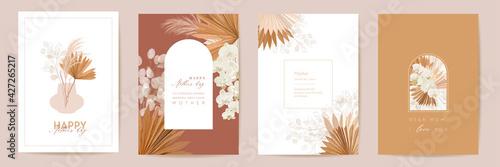 Fototapeta Mother day watercolor card set. Greeting mom minimal postcard design. Vector tropical flowers, palm leaves obraz