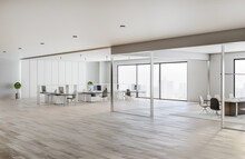 Light And Spacious Coworking Office With White Tables And Walls, Wooden Floor And Glass Walls In Meeting Room
