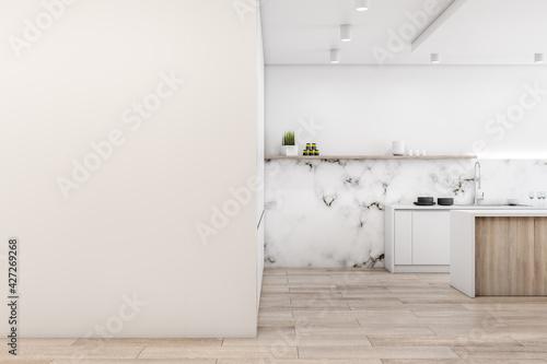 Fotografie, Obraz Modern cozy bright furnished kitchen with a blank empty beige wall, wooden parqu