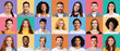 Collage of diverse happy people expressing positive emotions