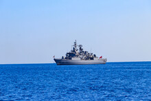 Turkish Navy Warship Sailing In The Mediterranean Sea. Protection Of Water Borders Of Turkey
