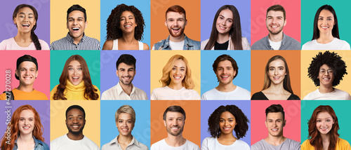 Obraz Collage of diverse happy people expressing positive emotions - fototapety do salonu