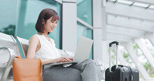 Asian Young Woman Use Laptop