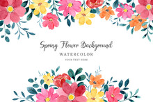 Yellow Red Spring Flower Frame Background With Watercolor