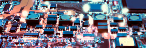 Detail of electronic board in hardware repair shop