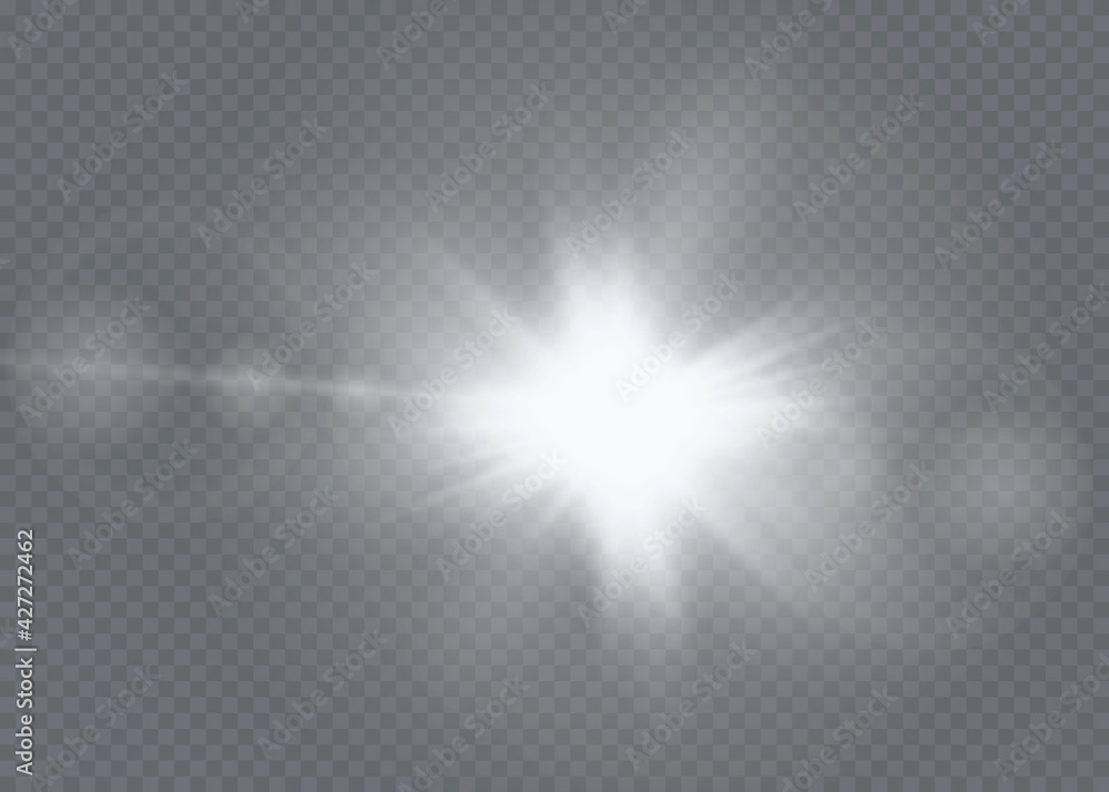 Fototapeta Sunlight translucent special light effect design. Vector blur in radiance light. Isolated sunlight transparent background.