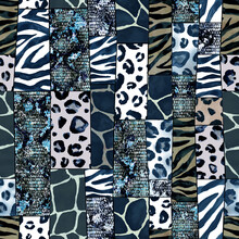 Trendy Imitation Sewn Pieces Of Fabric In Patchwork Style. Watercolour Hand Drawn Modern Collage