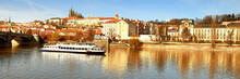 Iew On St. Vitus Cathedral And Prague Castle Across Vltava River