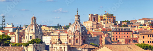 Beautiful view of Roman Forum and church cupola in Rome, Italy Poster Mural XXL