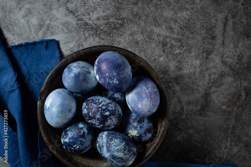 Canvas Print eggs are painted with blueberries in the form of a marble pattern