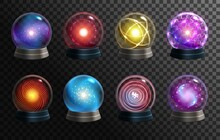Magic Crystal Balls On Transparent Background, Vector Globes Of Fortune Teller, Oracle And Halloween Wizard. Realistic 3d Glass Spheres Or Glowing Orbs With Magical Lights, Circles And Mystery Glow