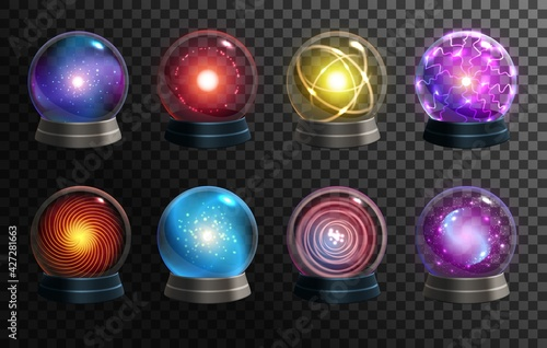 Vászonkép Magic crystal balls on transparent background, vector globes of fortune teller, oracle and Halloween wizard