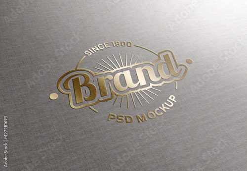 Logo Mockup with Gold Effect on Fabric Texture