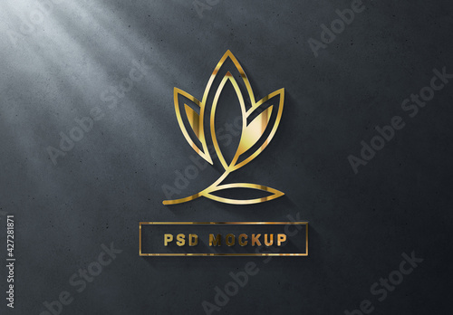 Gold Logo Mockup on Dark Wall with 3D Glossy Effect