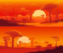 African Savanna Nature Vector Landscape At Sunset. Safari Animal, Dusk Orange Sky, Sun And Cloud, Savannah Baobab Tree, Elephant And Giraffe, Rhino And Hippo, Savannah Mountain Silhouettes