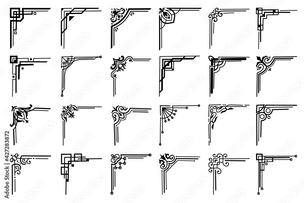 Fototapeta Corners and frame borders, vector floral embellishments set. Black corners with flowers, leaves, victorian flourishes and frame swirls, page decoration calligraphic elements and adornments