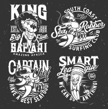 T-shirt Prints With Lobster, Lion And Pencil Vector Mascots. Surfing And Safari Club, Smart League And Seafood Restaurant. T Shirt Emblems For Sport Team Apparel Design Templates, Isolated Label Set