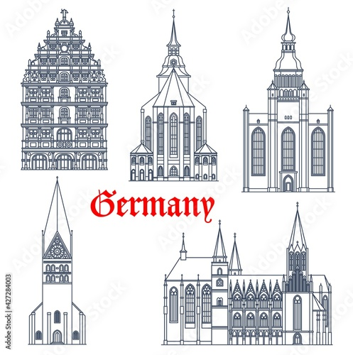 Germany landmark buildings architecture, vector icons of gothic churches and cathedrals. Germany landmark of St Michael and John church Luneburg, Oppenheim Katharinenkirche and Gewandhaus Braunschweig - fototapety na wymiar