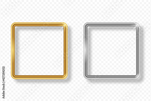 Obraz na plátně Set of gold and silver square frame on transparent background with shadow