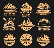 Kayaking Sport Icons, Rafting And Canoe Tours, Vector Outdoor Adventure Club Symbols. Nature Camping And Hiking Expedition To River And Mountain On Kayak, Canoe And Raft Lake Boat Icons