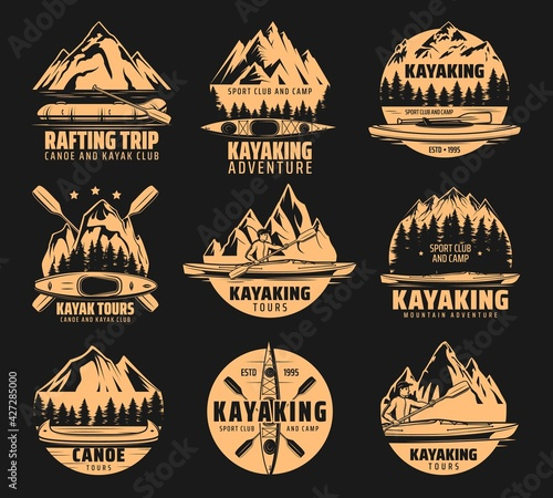 Fotografia Kayaking sport icons, rafting and canoe tours, vector outdoor adventure club symbols