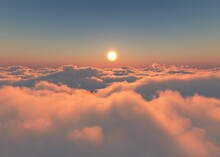 Beautiful Cloudy Landscape At Sunset, Clouds From A Height Of Flight, Flight Among The Clouds To The Sun, 3D Rendering
