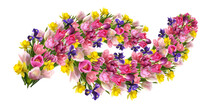 Garlands From Different Flowers Isolated On A White Background