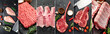 Set of different raw meat on a stone background. Photo collage, banner concept for butcher shop