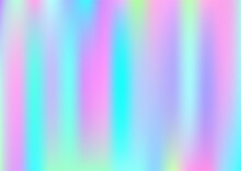 Holograph Minimal Banner. Iridescent Holographic Dreamy Light