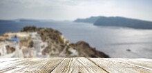 Wooden Table Of Free Space And Summer Time In Greece