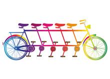 Buntes Tandem Fahrrad Für Fünf Personen