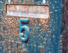 Old Rusty Letterbox With Number Five