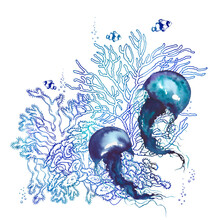 Underwater Scenery With Blue Jellyfish And Corals.