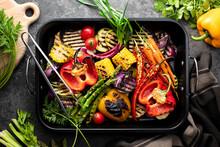 Freshly Grilled Vegetables In A Grilling Sheet Pan