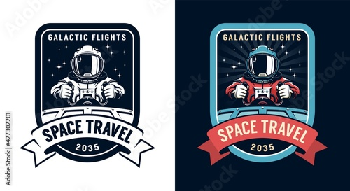 Canvas Print Space badge with spaceship pilot