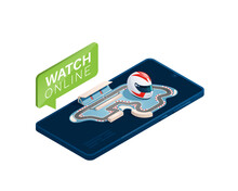Race Track, Racing Helmet On A Smartphone. Isometric Vector Illustration Is Isolated On A White Background. The Concept Is Watching The Race On Devices Online.