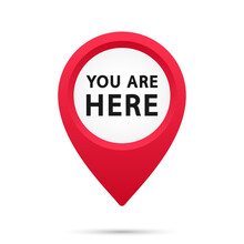 Marker And Pointer Icon. Iocation Indicator. You Are Here Sign Icon Mark Location Pointer Pin. Destination Or Location Point Concept. Vector Illustration. EPS-10